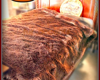 Plush Faux Fur Brown Bear Shag Bedspread / Comforter / Throw Blanket /  Custom Made / USA / All New Sizes