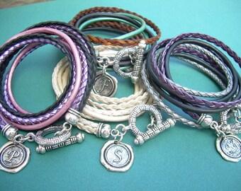 Personalized  Bracelet, Triple Wrap, Initial Charm, Womens Bracelet,Womens Jewelry,Leather Bracelet, Personalized Jewelry, Initial, Monogram