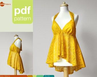 PDF sewing pattern. High low hem women swing top -Candy- (size 34-42)