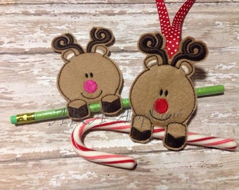 Reindeer Candy Cane Holder Christmas Ornament and Pencil Holder ITH Embroidery Design