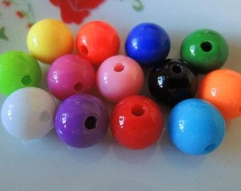 50Pcs  Mixed Color Acrylic Beads -10mm (S023)