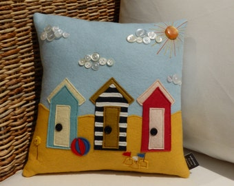 Beach Hut Cushion - 100% pure wool felt and vintage buttons