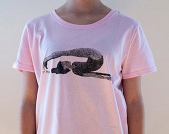 Graceful yoga postures screen printed on t-shirts. This is Plow, available in black on pink, blue, natural in four sizes,M, L, XL, XXL.