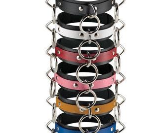 3 Ring Locking Collar - Leather