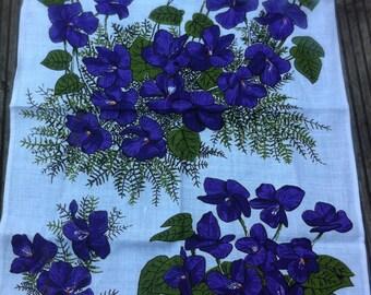 violets by ulster tea towel reg 5219 irish linen tea towel 70s kitchen 1970s tea towel