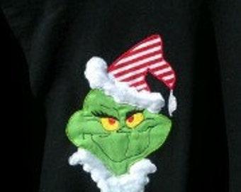 Holiday Grinch applique SHORT sleeve shirt