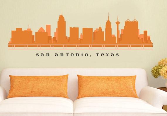 San antonio texas skyline wall decal art vinyl removable peel for Good look chicago skyline wall decal