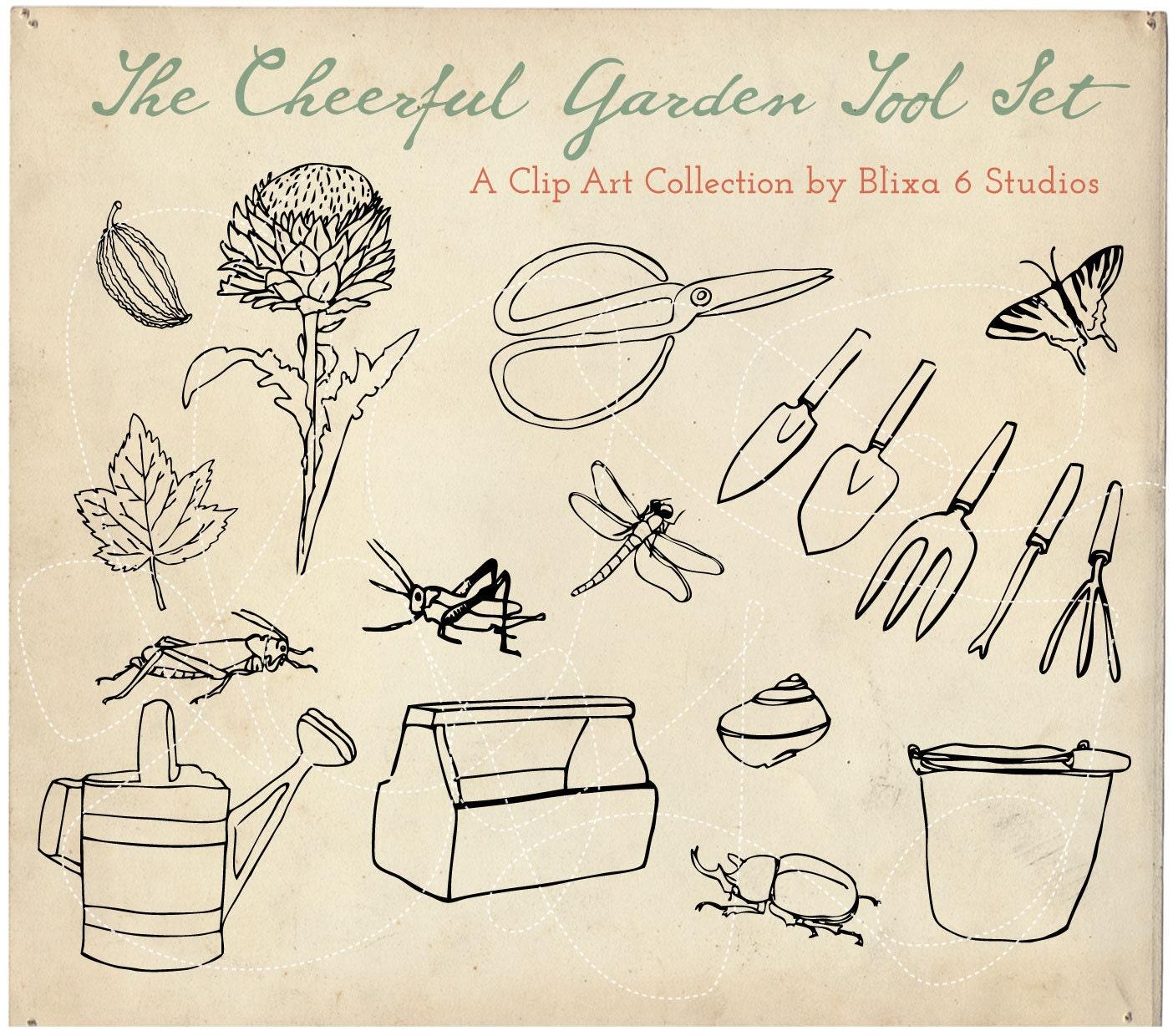 Garden Tool Digital Clip Art 18 Cheerful Line Drawings of