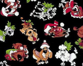Fabric Material Doggie Holiday All Dressed Up Black - One Fat Quarter