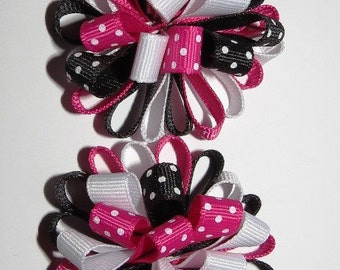 Set of Loopy Loopy Puff Bows Black, Pink and White