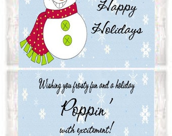 Christmas Holiday Snowman Party Popcorn Wrappers Favors Custom ...