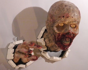 Realistic wall bursting walking dead zombie life size head and hand set prop replica