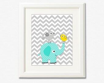 Aqua grey and yellow  nursery Art Print - 8x10 - Children wall art, baby boy room decor, elephant, love birds, aqua, grey, teal - UNFRAMED