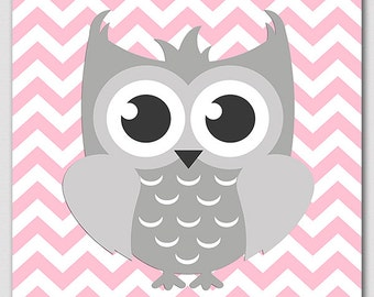 Pink and grey owl wall art, nursery Art Print - 8x10 - Children wall art, baby girl wall decor, pink, grey, owl - UNFRAMED