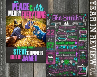 Year in Review - Christmas Card Printable - Custom Colors - Year in Review Christmas Card - Holiday Card - Merry Christmas Card - Chalkboard