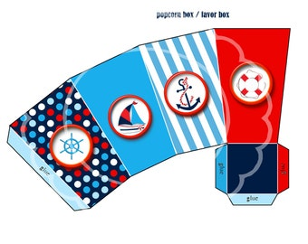Nautical Popcorn favor box Nautical party,  Nautical birthday Nautical party