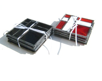 Black and Streaky Clear or Red and White Cross Coasters, Hand-Crafted Stained Glass by Krista