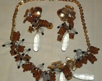 Vintage 1950s Celluloid/Lucite Charm Necklace and Earrings Set