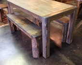 "Colorado Beetle Kitchen Table With Benches 53"" wide x 28"" wide x 30"" high  - RMRWoods"