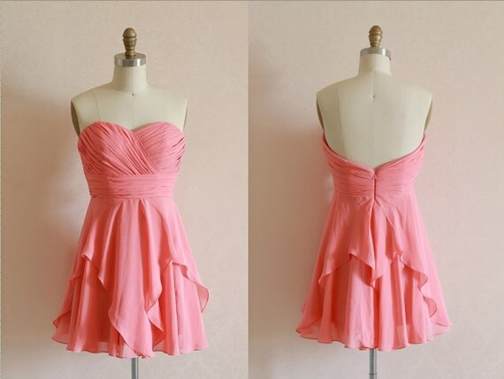 Coral Chiffon Bridesmaid Dress Strapless Sweetheart by ...