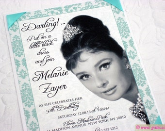 Handmade-50th Birthday Audrey Hepburn party invites, wedding, bridal shower, birthday, graduation, bat mitzvah & more! For Any Event!