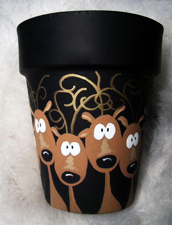 Reindeer in Headlights Flower Pot Hand Painted Original - photo#11