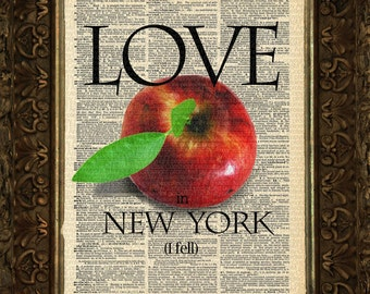 Love in New York,  I Fell on Antique Dictionary Page, Wall Decor, Wall Decor, Book Art, Gift
