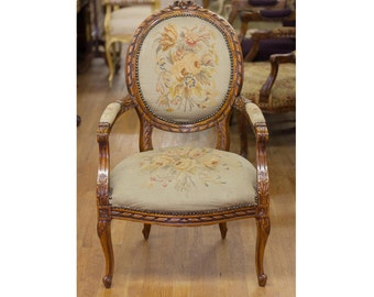 Beautiful Carved French Aubusson Tapestry Arm Chair