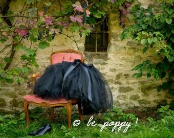 SHORT BLACK TUTU skirt - Tea lenght Black woman tulle skirt - 8 layers sewn tutu - Custom - Adult tutu skirt - Girl tulle skirt- Flower girl