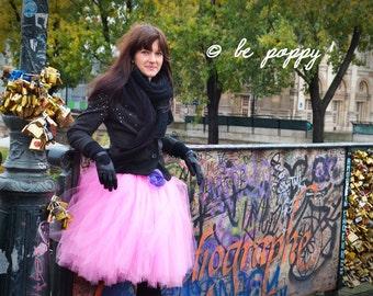 SHORT PINK TUTU skirt - Tea lenght Candy Pink Tulle Skirt - 8 layers sewn tutu - Custom - Adult tutu skirt - Girl tulle skirt - Flower girl
