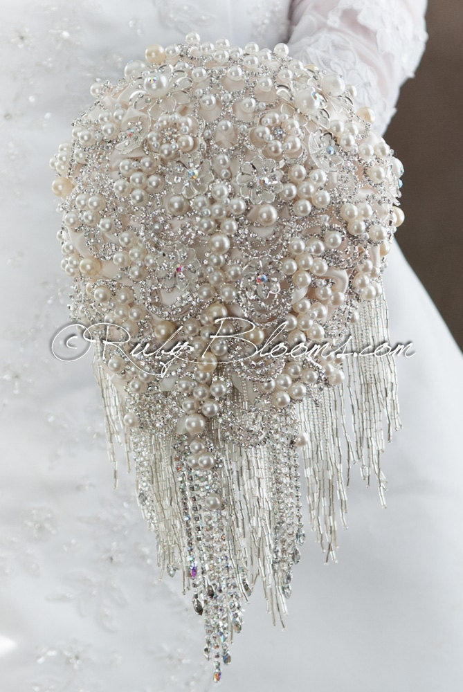 Silver Bridal Bouquet Holder : Cascading silver white wedding brooch by rubybloomscom on etsy