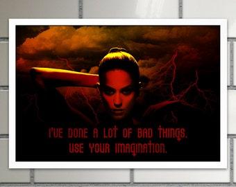 Katy Perry Bad Girl poster 18x12 inch duotone illustration pop celebrity poster. Dark art print teen girls room decor.