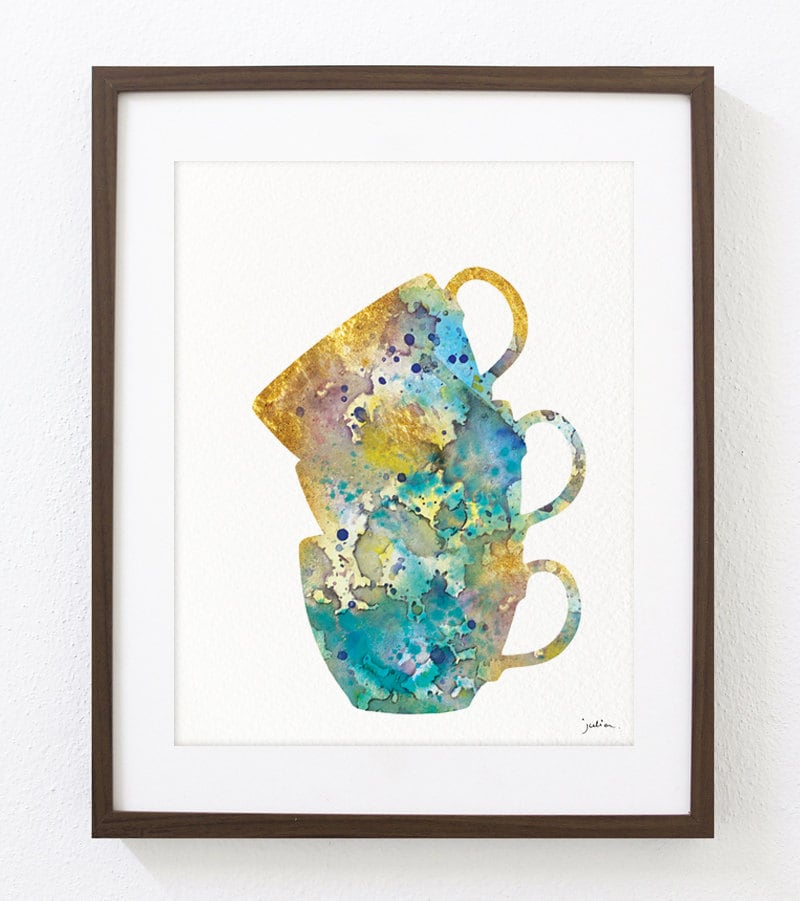 3 teacups stacked cups kitchen art watercolor painting for Wall painting utensils