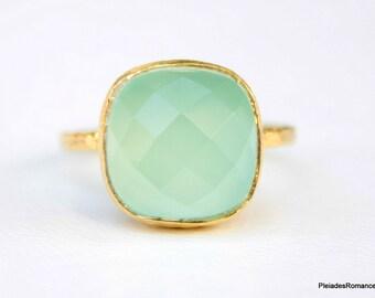 Aqua Mint Aqua Blue Gold Ring - Gemstone Ring - Aqua Mint Chalcedony Gemstone Ring - Handmade Vermeil Gold Ring