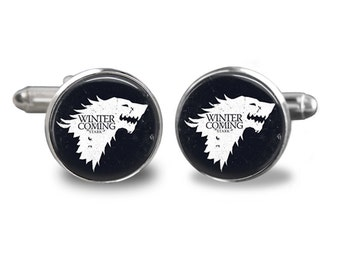 Game of Thrones Cuff links, Winter is Coming Cuff Links, House Stark, Gift for Men, Him