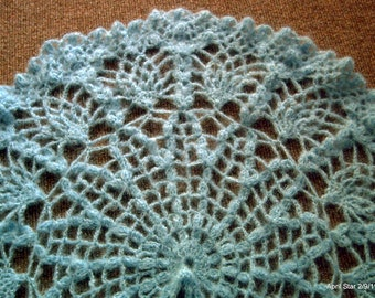 Turquoise mohair crochet shawl