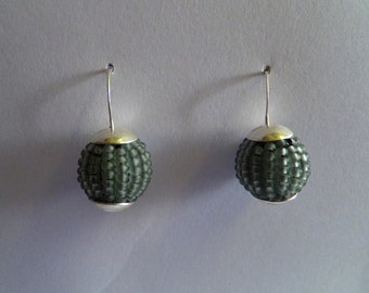 Frosted Grey Ball Earrings