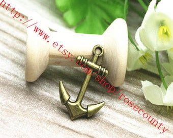 wholesale 100pcs 28x20mm antiqued bronze Boat Anchor charms findings