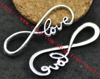 wholesale 100pcs Antiqued Silver Love Infinity fingue 8 charms findings