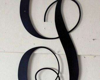 """22 inch Black Script Metal Letter """"J"""" Door or Wall Hanging"""