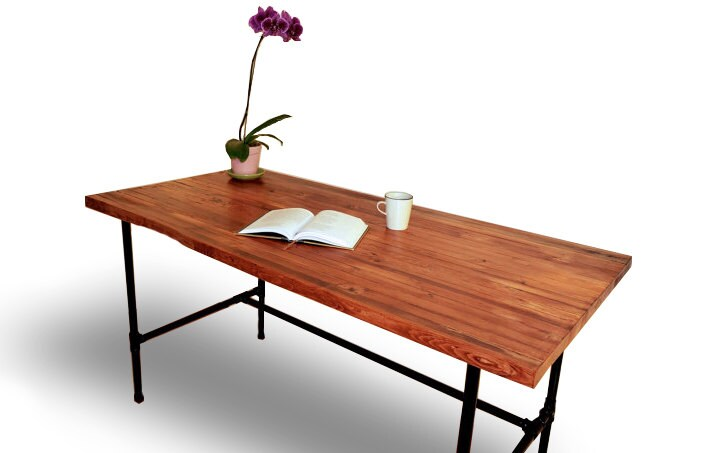 wood desk with black pipe legs solid wood table butcher. Black Bedroom Furniture Sets. Home Design Ideas