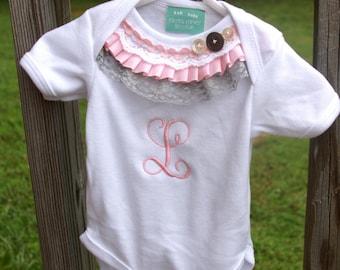 Baby Girl Monogrammed Ruffle Top Onsie