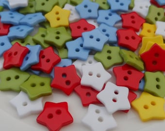 50 Pcs Mixed Colours Star Buttons 13mm