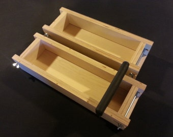 3Lb Adjustable SOAP MOLD and Bar CUTTER, Cold Process Loaf Molds Wooden Wood