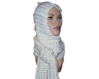 White Hooded Womens Scarf
