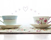 20% OFF, Tea Cups, SALE, Hearts, Love Still Life, Vintage Tea Cup, Lovers, Tea Room, Tea Party, Pink and Green, Teal, 4x6 and 8x12 Print