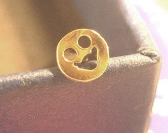 """Nose Stud """" Smiley """"   14K Gold (solid)"""