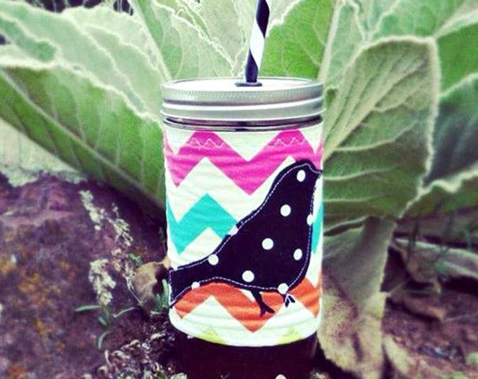Free Bird Polka Dot and Chevron 24 oz Mason Jar Tumbler BPA Free Straw - Cozy Travel Mug Great Gift