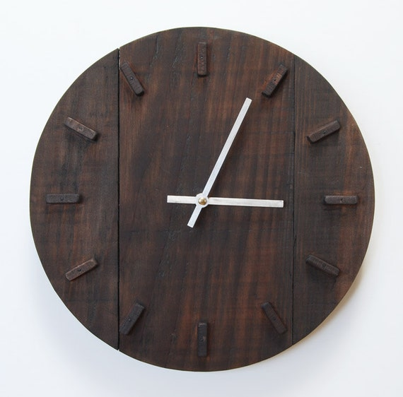 mid century modern contemporary reclaimed wood clock by bartwerks. Black Bedroom Furniture Sets. Home Design Ideas