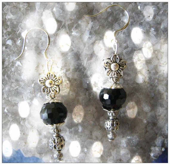 Handmade Silver Earrings with Facetted Black Onyx by IreneDesign2011